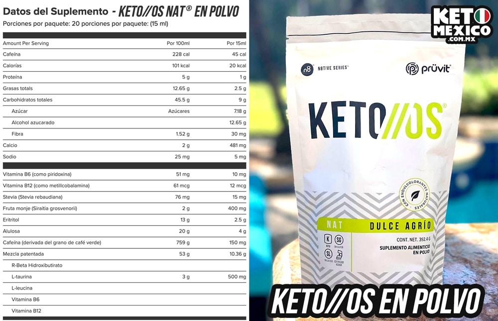 Cetonas Polvo Informacion Nutrimental Keto OS